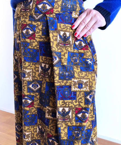 HSSK025 ベビーコールウォールプリントプリーツスカート