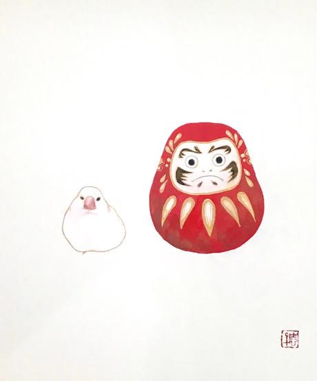 日本画 青木志子 「だるま」 色紙
