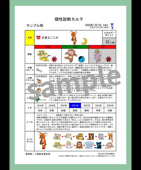 個性診断レポート 7種セット(2021年運気リズムカレンダー付)