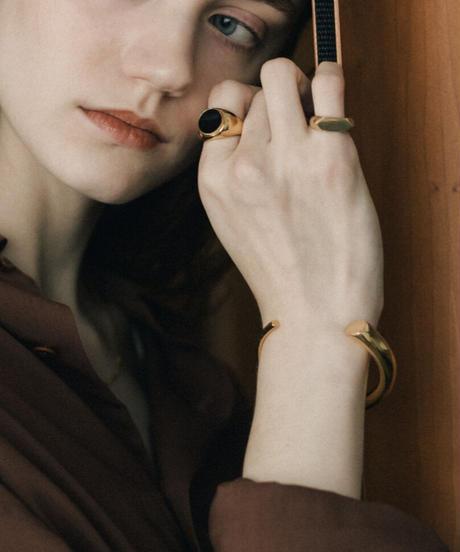 KREIS ONYX RING (gold plated)