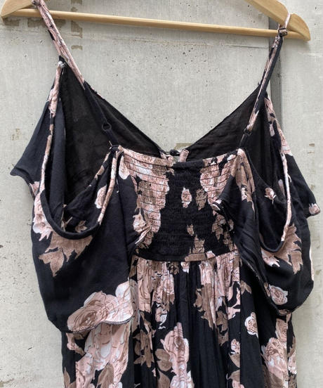 Flower print camisole one-piece