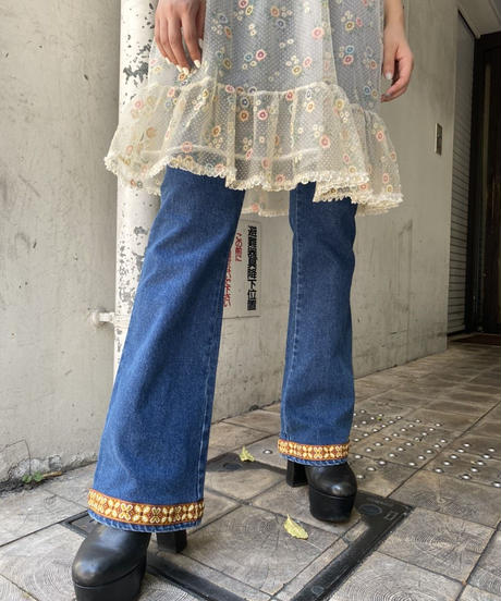 denim  flare  pants