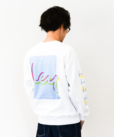 【ユニセックス】2020 SS hey スウェット(White & Light Blue)