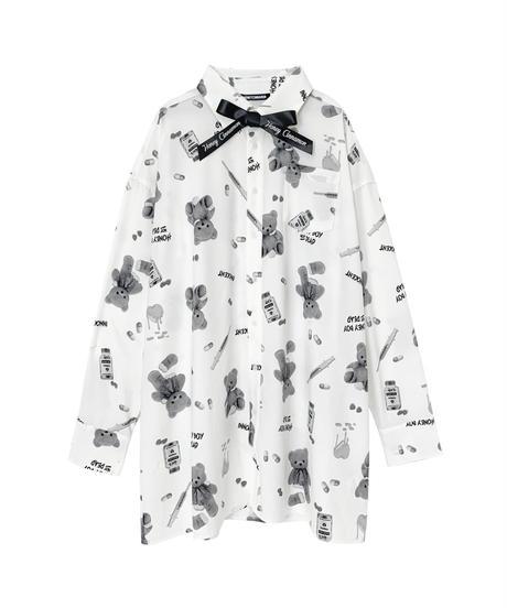 HC211SH0307<unisex> シナモンくん総柄ビッグシャツ