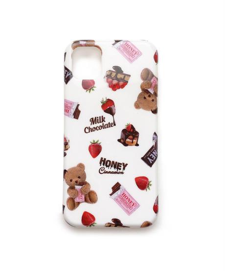 203BC0935 チョコシナモン柄iPhoneケース(グリップ付き)11対応