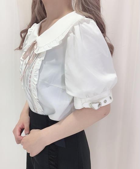 HC213TP0714 配色リボン丸衿トップス