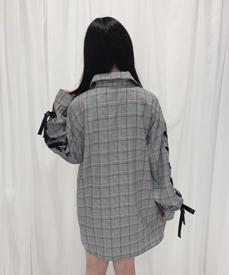 HC213SH0921 袖レースアップビッグシャツ