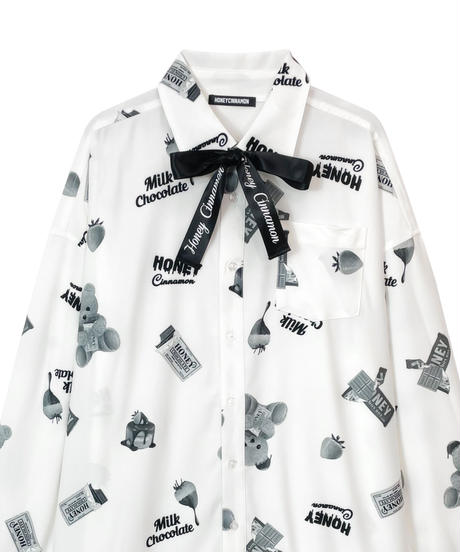 HC213SH0924<unisex>モノクロシナモン総柄ビッグシャツ