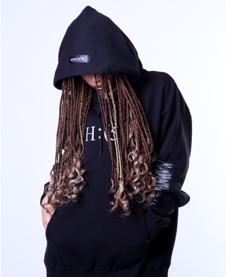 H:(5) PULLOVER HOODY (BLKxWHT)
