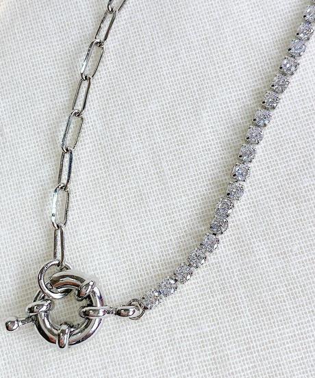 rhinestone × chain necklace H109