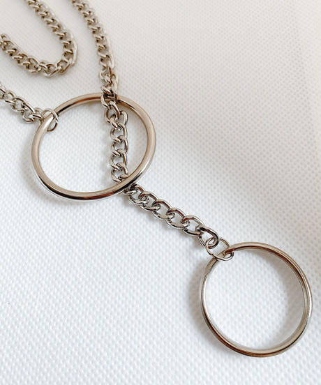 circle long chain necklace M125