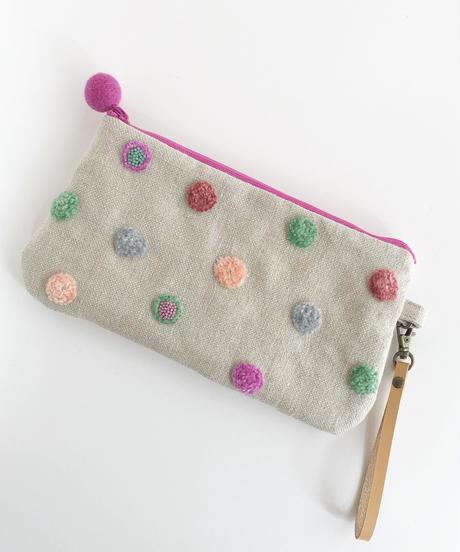 リネンの水玉刺しゅうのペタンコポーチ【ターコイズグリーン1】
