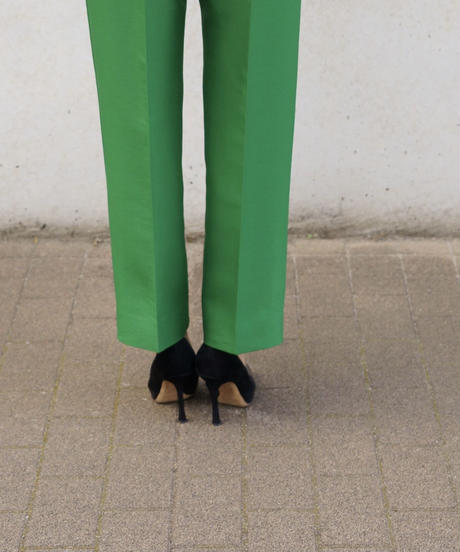 Wool Silk Tuck Pants