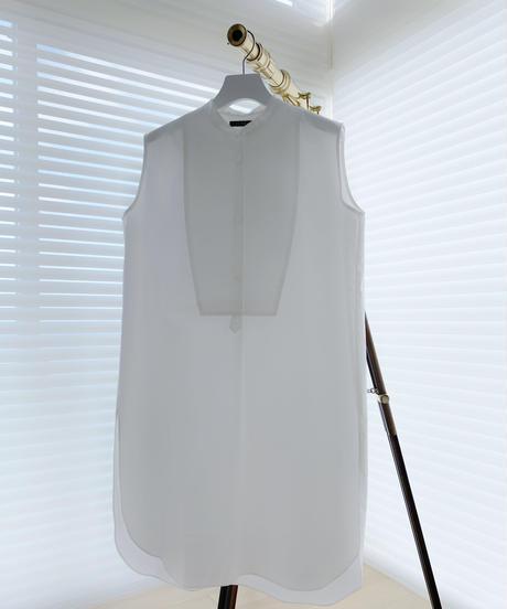 Band Collar Shirt/ Front Dot