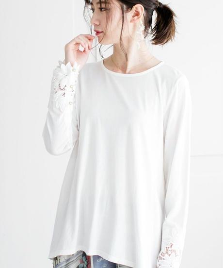 袖花レースロングTシャツ