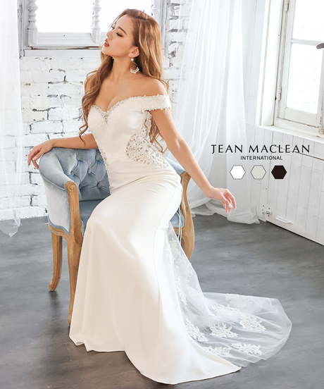 【JEAN MACLEAN】オフショル/シンプルワンカラー/レース/LongDress【11875】
