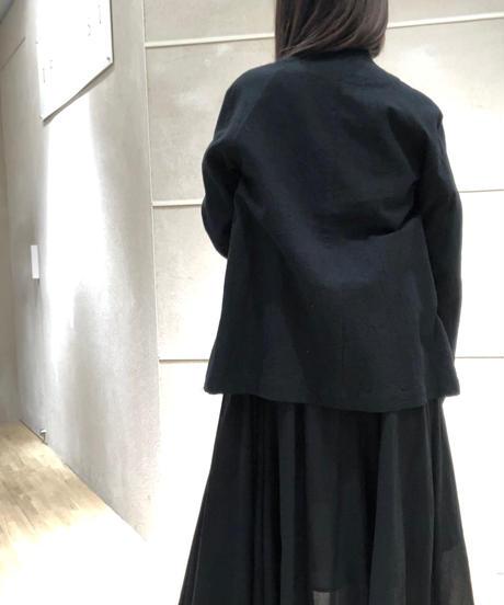 黒シワ加工ボトルネックジャケット
