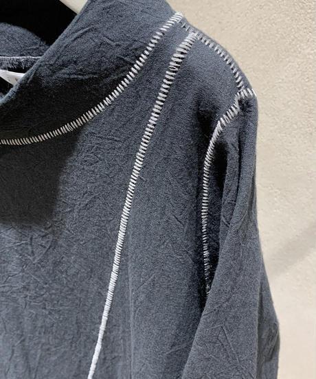 黒シワ加工柵縫合ワンピース