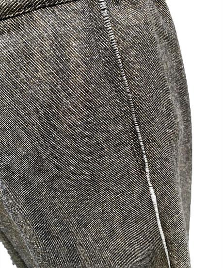 綿起毛裾タックワイドパンツ