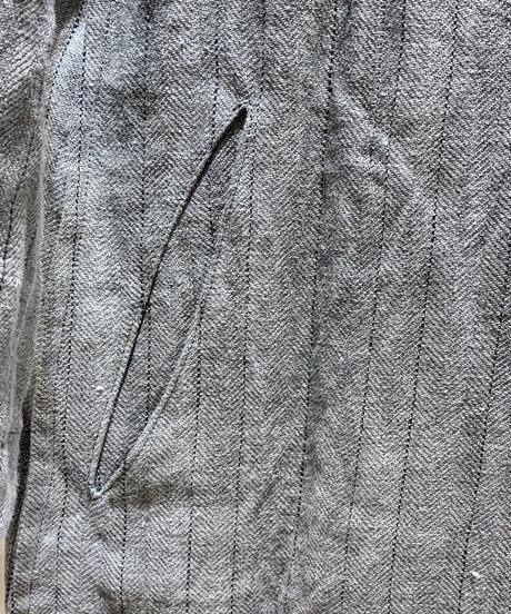 麻ストライプ縫代ロングジャケット