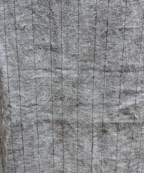 麻ストライプ蜩ロングベスト