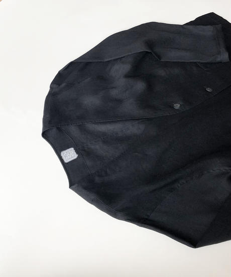 結-yui- YS21-T02  FLUX LINEN  V-NECK CARDIGAN / BLACK