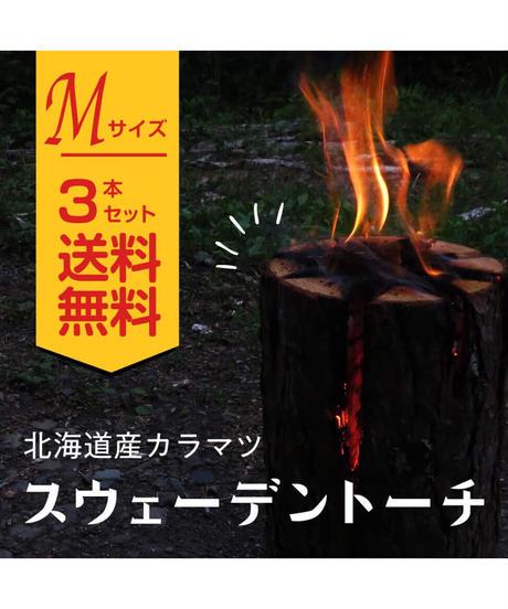 スウェーデントーチ Mサイズ3本入り 北海道産 カラマツ キャンプ用品 丸太ストーブ 焚火