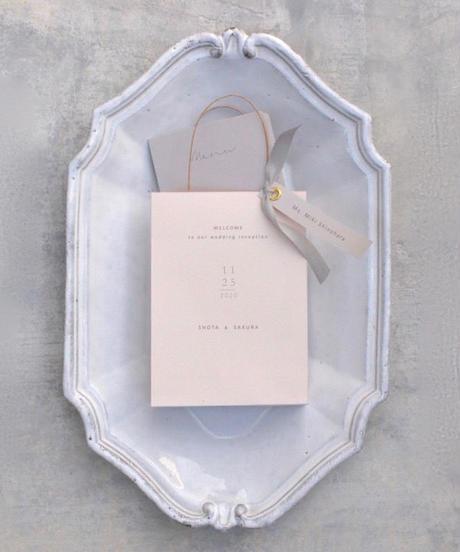 席札&メニュー Paper Bag ピンク/グレー 手作りキット 10部