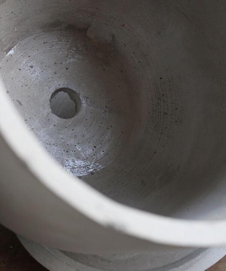 セメントポット(鉢皿付き)M