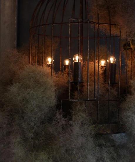 シャンデリア(アイアン製)bird cage 5灯 スモークツリー