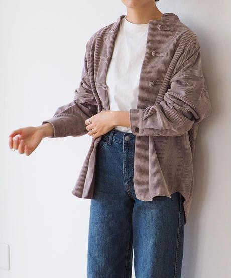 チャイナボタン コーデュロイシャツ