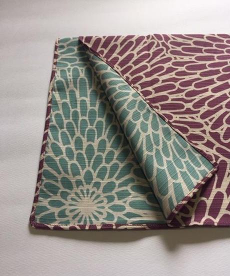 伊砂文様 両面チーフ  菊    薄紫×青磁