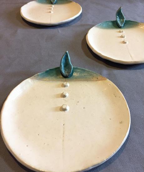陶器 ブルーリーフプレート