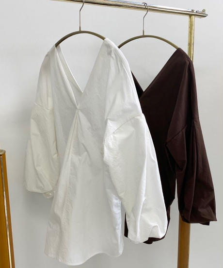Vneck puff sleeve (white/brown)