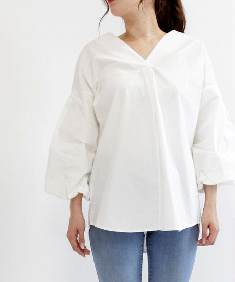Vネックパフスリーブシャツ(白・茶)【4980円⇒3980円】