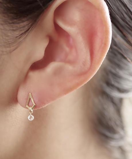 Rosecut diamond stud pierces - Diamond <K18YG>