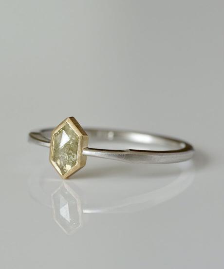 One of a kind / Diamond Ring <K18YG,PT950> - R456C