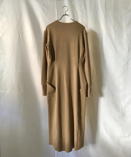 V neck thermal dress(beige)