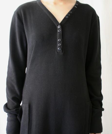 V neck thermal dress(black)
