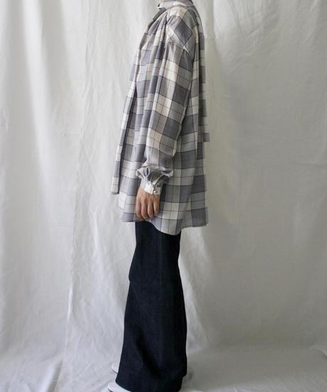 check scarf blouse (blue check)