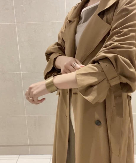 Maxi back check trench coat :BEIGE