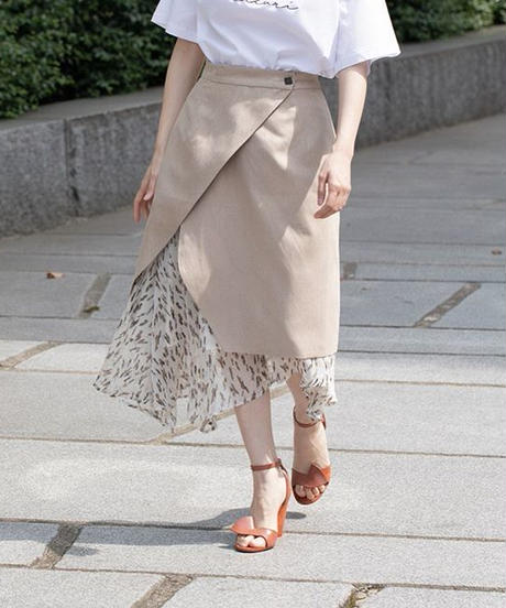 Asymmetry Set Skirt BEIGE×柄