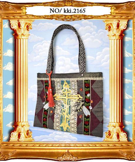 kki.2165 十字架と蜂のトートBAG。<ワインレッド>