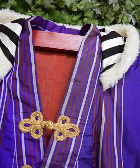 ki-J.0001 アーミージャケット風リメイク着物羽織。<紫/エンジストライプ>