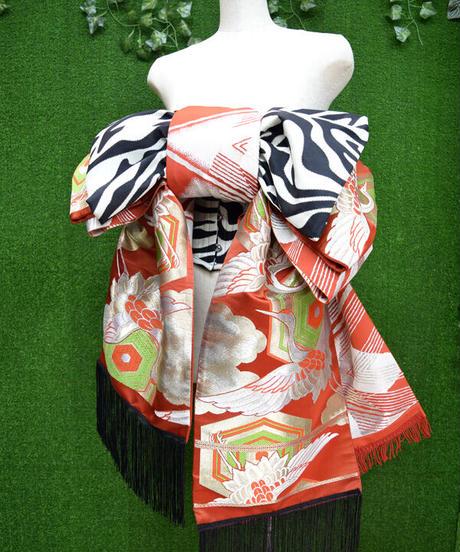 ki-J.0005 丑と鶴のおリボン作り帯ウエストコルセット。Set