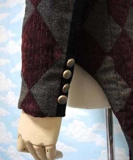 kki.1814 ダイヤチェックのアンティークボタン燕尾スーツ<ワイン>。