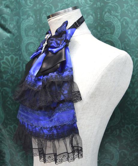 kki.2393 青と黒のリボンボリュームジャボ。