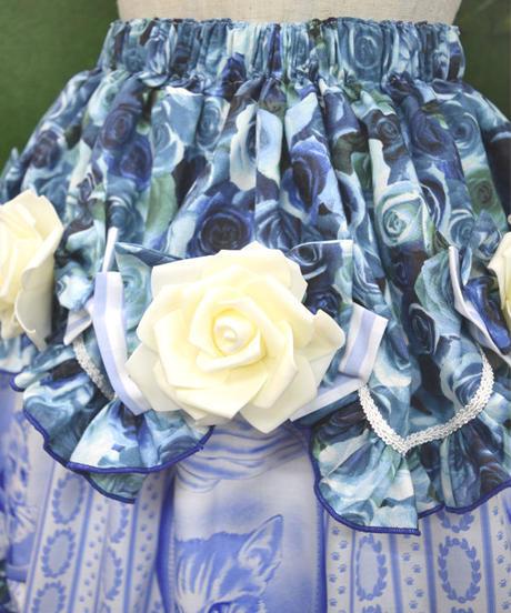 kki.2265 アンティークキャットリボンローズフリルスカート。<ブルー>