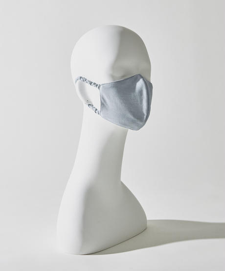 SILK 100% 3D MASK / LIGHT BLUE :  ORGANIC INDIGO DYE
