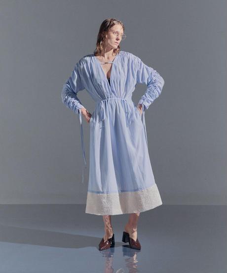 shirring maxi dress (blue)